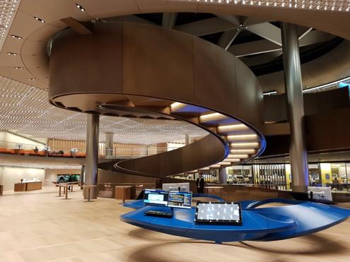 Custom fabrication fiberglass kiosk table for Bloomberg London headquarters