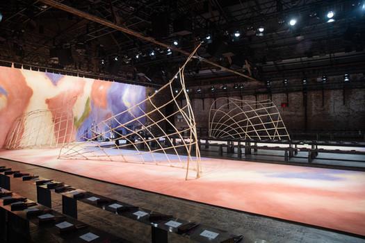Ulla Johnson fashion show runway sculptures art fabrication