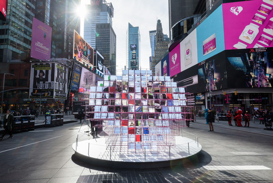 Heart Squared Times Square MODU Architecture NYCxDESIGN Art fabrication