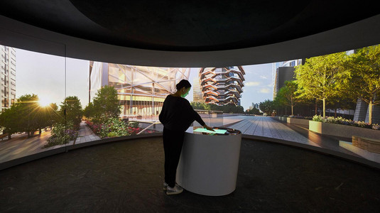 interactive kiosk exhibit fabrication for Hudson Yards retail sales center