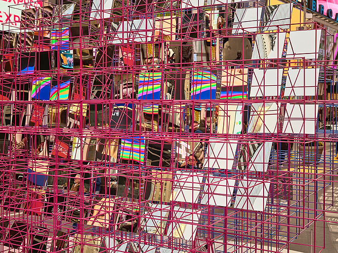 Art fabrication Heart Squared sculpture installation NYCxDESIGN