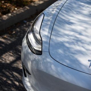 Tesla Model 3 front headlight detail shot