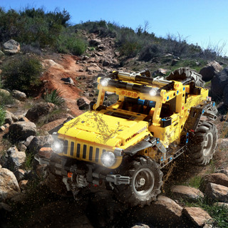 Lego Jeep Wrangler off roading, fun Photoshop Challenge, Commercial Photography