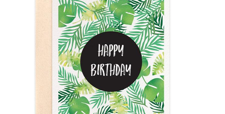 Card - Tropical Happy Birthday - Blank