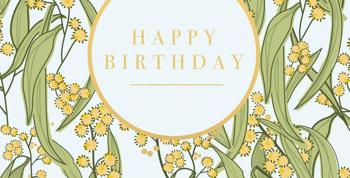 Card - Wattle Happy Birthday - Blank