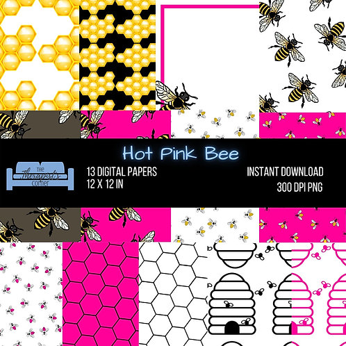 Hot Pink Bee Digital Print Papers