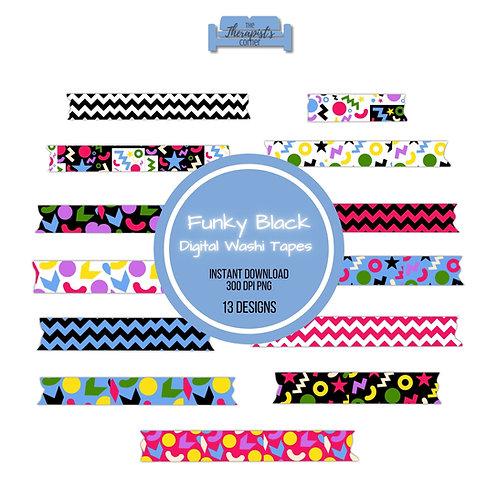 Funky Black Pattern Digital Washi Tapes
