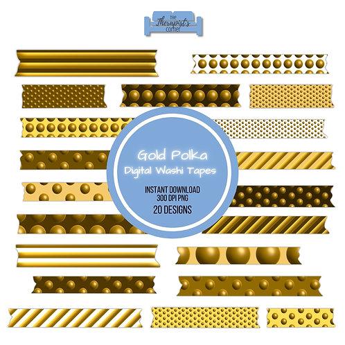 Gold Polka Dots Digital Washi Tapes
