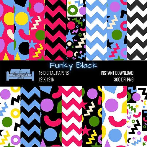 Funky Black Digital Paper