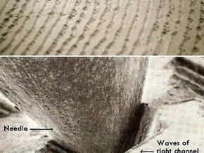 Reproducão do som quando a agulha toca o vinil.