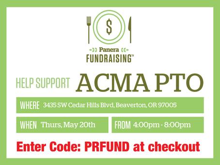 Panera PTO Fundraiser: Thu, May 20, 4pm-8pm