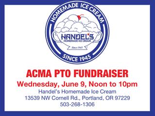 Handel's Homemade Ice Cream & Yogurt PTO Fundraiser: Wed, June 9, Noon-10pm