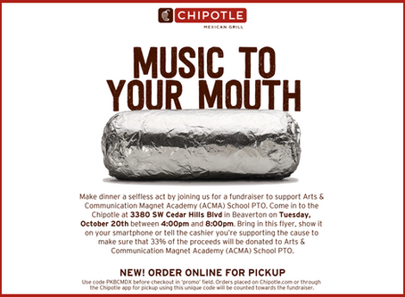 Chipotle PTO Fundraiser: Tues, Oct 20, 4-8pm