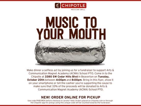 Chipotle PTO Fundraiser: Tues, Oct 20, 4-8pm