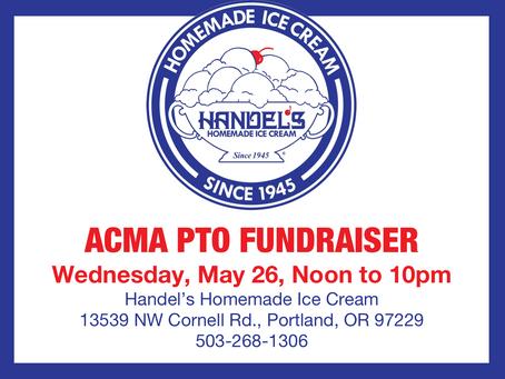 Handel's Homemade Ice Cream & Yogurt PTO Fundraiser: Wed, May 26, Noon-10pm