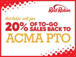Red Robin PTO Fundraiser: Thursday, Sep 16th, 5-9 pm