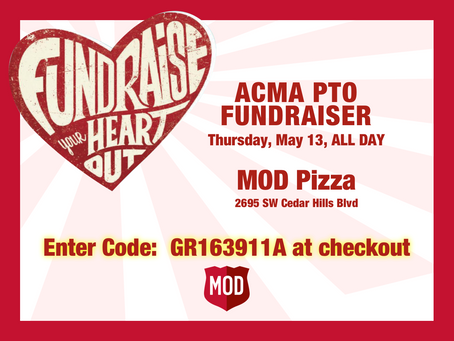 Mod Pizza PTO Fundraiser: Thu, May 13, ALL DAY