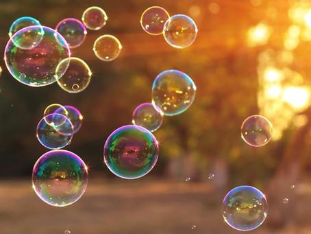 Meine rosa hellblau schimmernde Bubble
