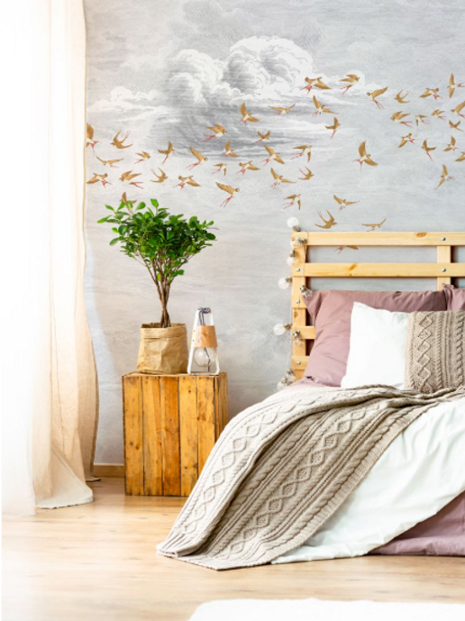 swallows in the cloud wallpaper hellocircus. Black Bedroom Furniture Sets. Home Design Ideas