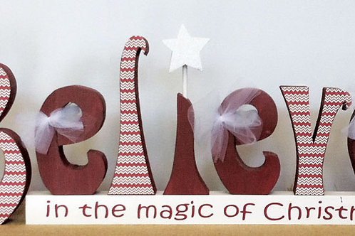 Believe...carved letters