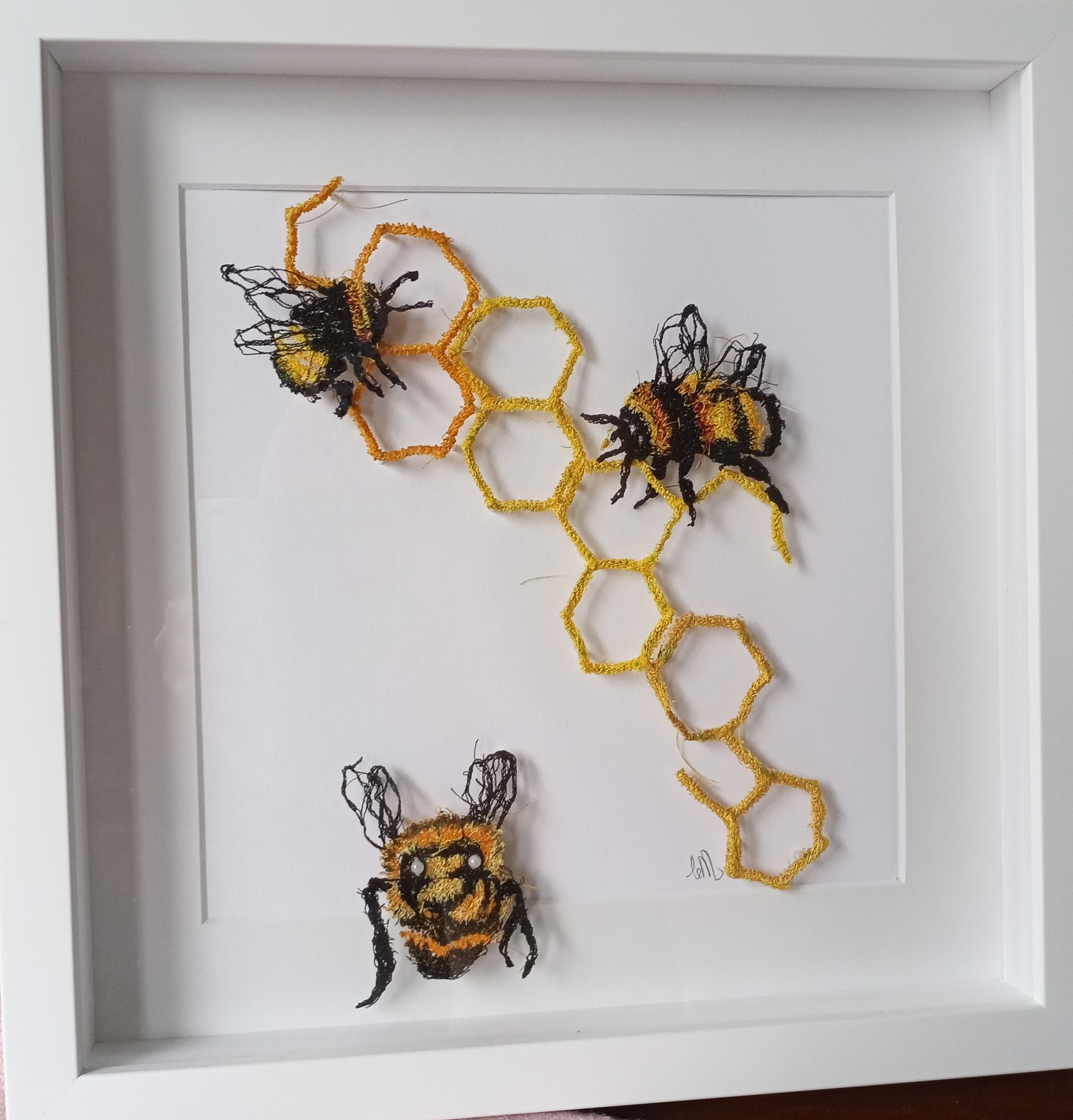 Bees in white box frame 12x14""