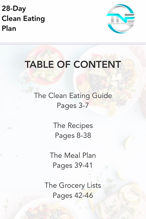 28 Day Non- Customized Meal Plan