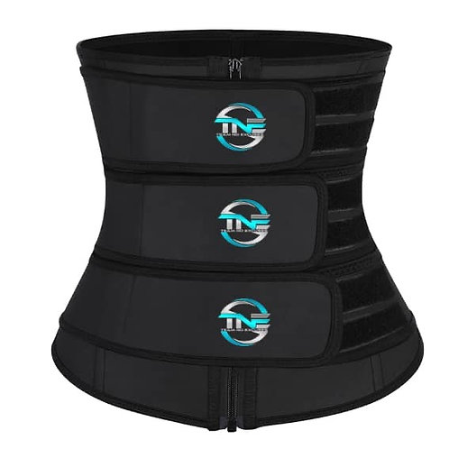 Full Coverage Triple Belt Latex Waist Trainer With Zipper & Removable Belts