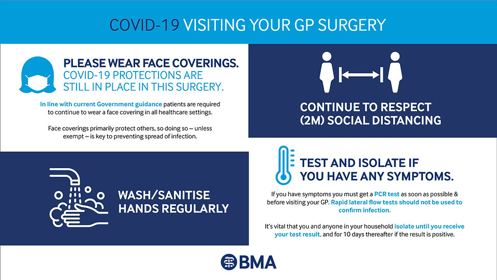 COVID-19 poster, please wear face coverings when entering the surgery,  2 meter social distance.