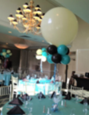 A Tiffany themed Bat Mitzvah using three foot balloons with two rows of five inch balloons.