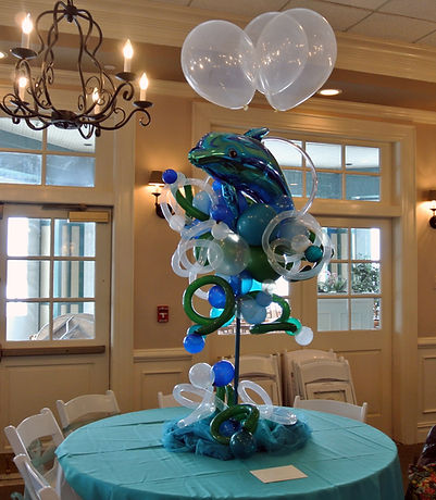 "A dolphin balloon creation for an ""Under the Sea"" themed quinceanera!"
