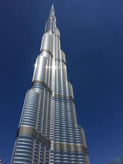 Burj Khalifa, Tallest Tower, In front a navy blue sky