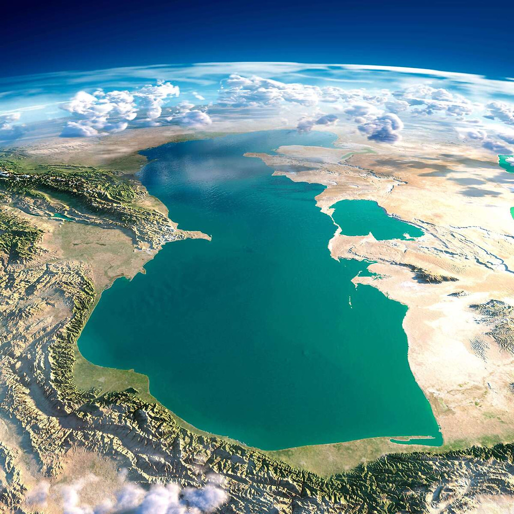A computer generated image of the caspian sea near turkmenistan