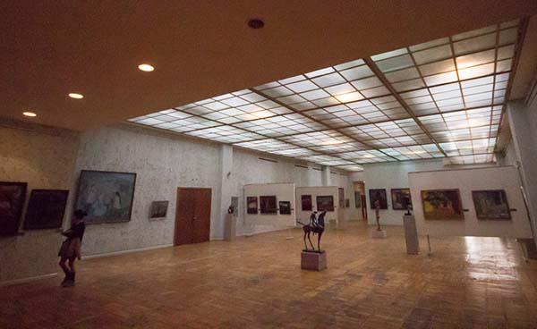 Inside one of the halls of paintings in the State Museum of Fine Arts in Bishkek, in Kyrgyzstan