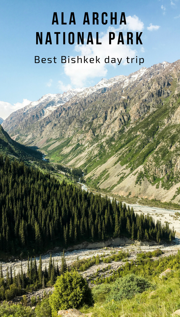 A ravine created by the wearing down of land into a mountain by strong water currents that eventually turned into a valley inside the Ala Archa National Park in Kyrgyzstan