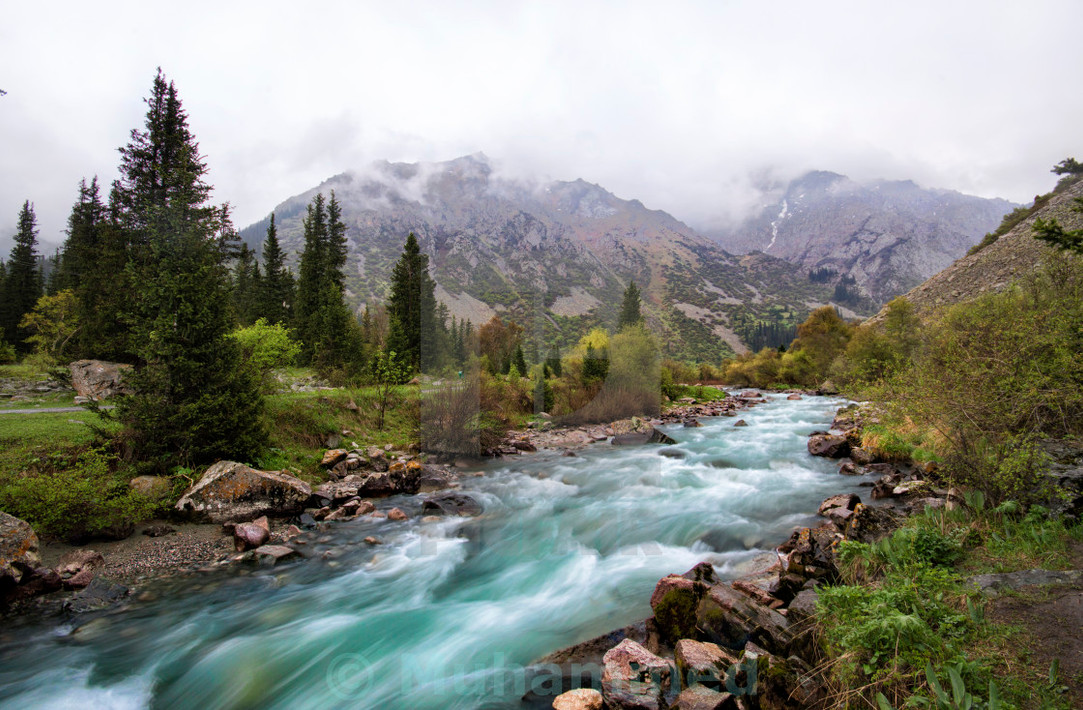 A beautiful stream shot in slow shutter speed inside the Ala Archa National Park in Kyrgyzstan