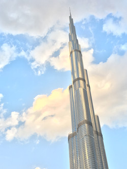 Burj Khalifa, Tallest Tower In The World In front of the clouds