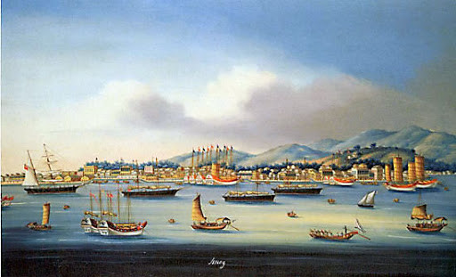 Foreign vessels and junks off Amoy in the early 19th century.