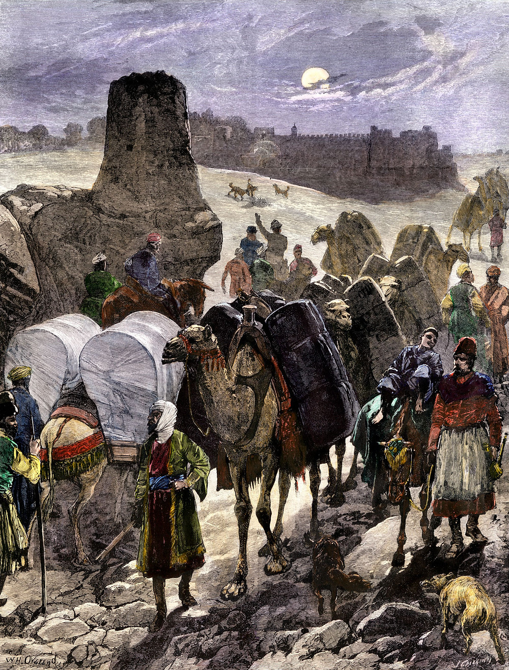 Trade caravans on the Silk Road, Central Asia