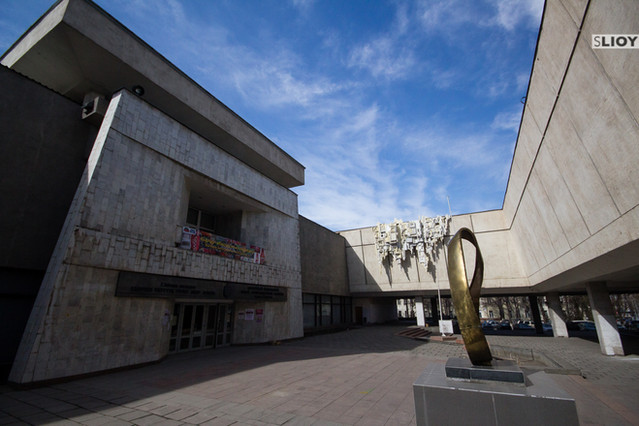 The entrance to the grand hall of the State Museum of Fine Arts in Bishkek, Uzbekistan