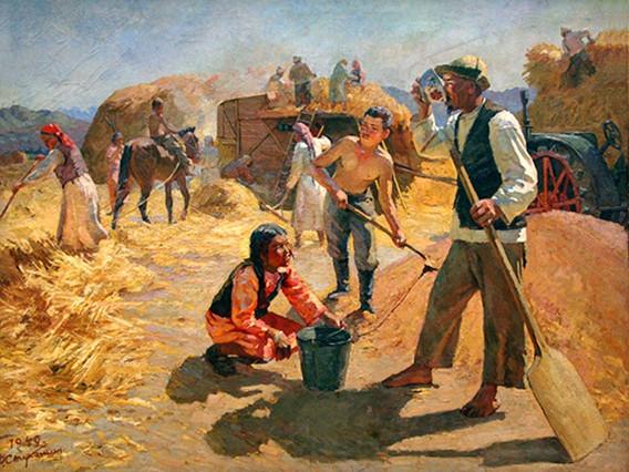 "Farmers in Kyrgyzstan. The painting's named ""Na toku"", Feodor Stukoshin, 1949"