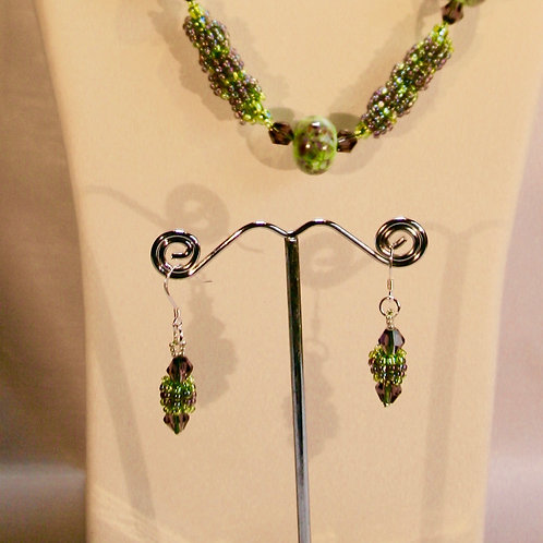 Amethyst & Sage Green Necklace and Matching Earrings