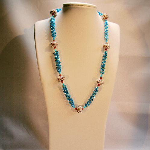 Blue and Amber Necklace