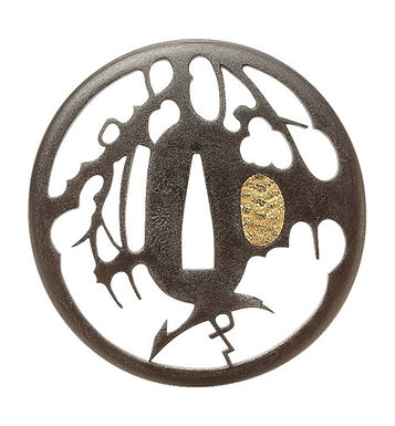柳に鷺透図鐔 銘 仙寿作