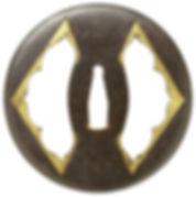 左右菱透図鐔 銘 埋忠宮内南蛮鉄作