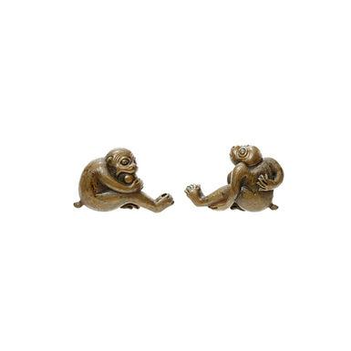 猿猴図目貫 根銘 安親(三代)