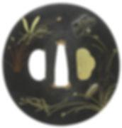 秋草に虫図鐔 無銘 加賀象嵌