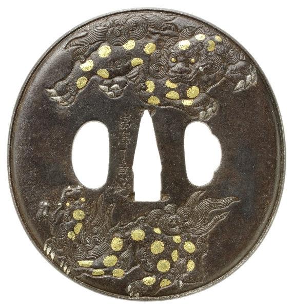 獅子牡丹図鐔 銘 岩澤了意(花押)