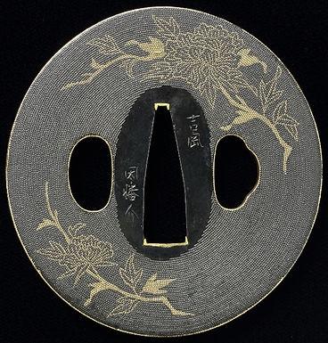 枝牡丹図鐔 名 吉岡因幡介