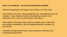 Nye smitteverntiltak i Oslo fra 2. til 15. mars