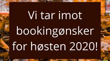 Faste bookinger høsten 2020
